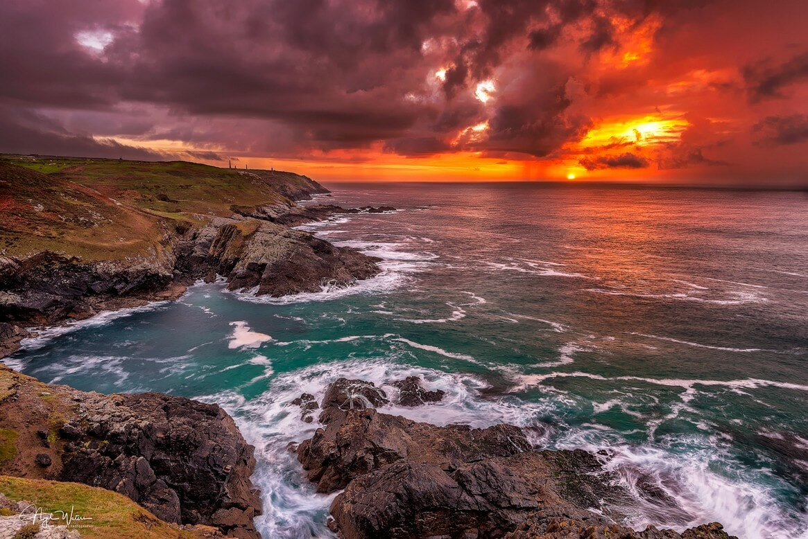 Pendeen Cornwall Sunset Seascape Photograph