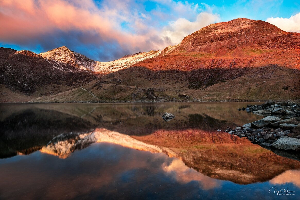 Reflections of Crib Goch at Llyn Llydaw Snowdonia Wales