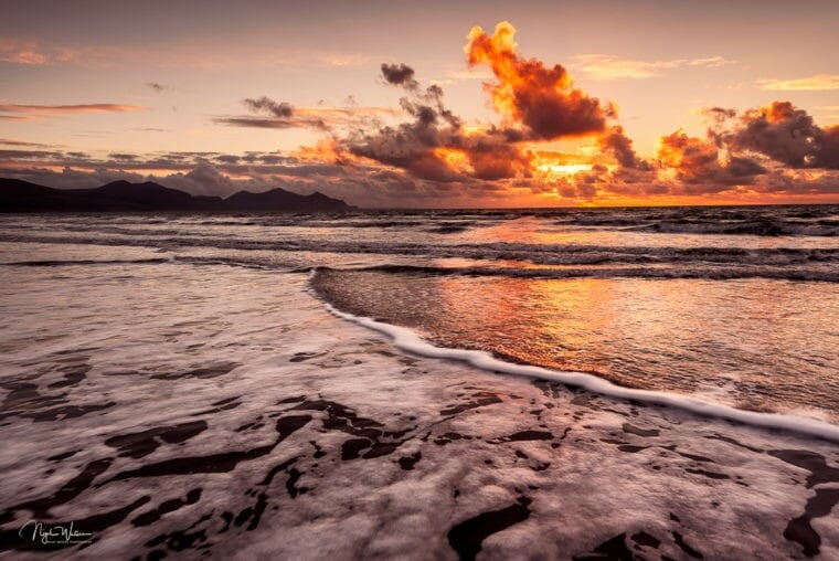 Golden sunset Dinas Dinlle North Wales
