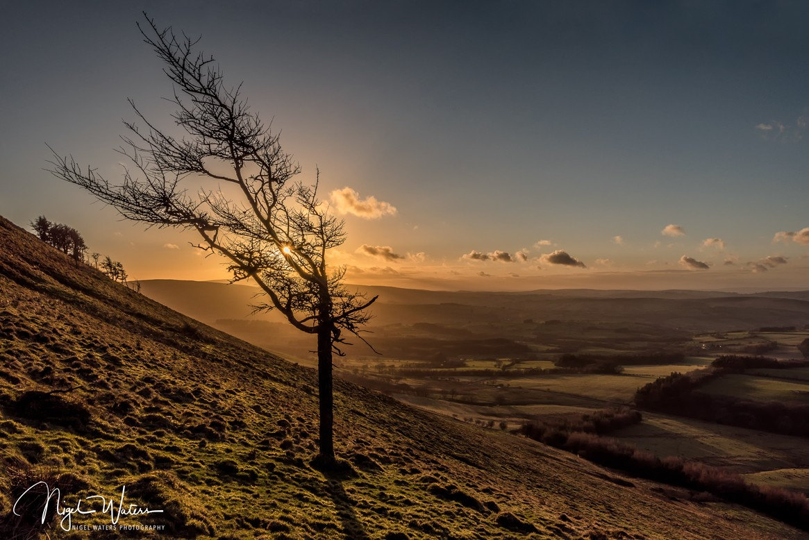 Sunset Photograph over the Brecon Beacons South Wales by Nigel Waters Photography
