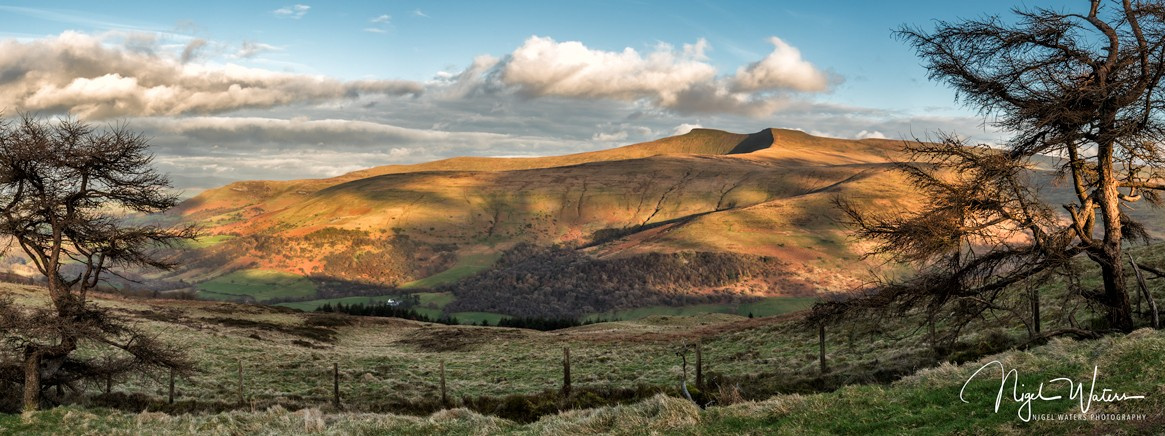 Landscape Photograph just before sunset from the bottom of Fan Frynch in the Brecon Beacons, South Wales by Nigel Waters Photography