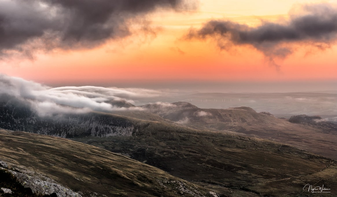 Clouds rolling in over the Carneddau Mountain Range Snowdonia