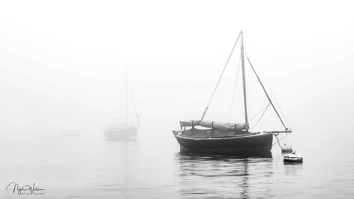 morning mist at Polruan Harbour in Cornwall