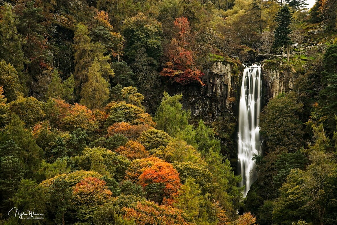 Pistyll Rhaeadr Waterfall autumnal colours Wales