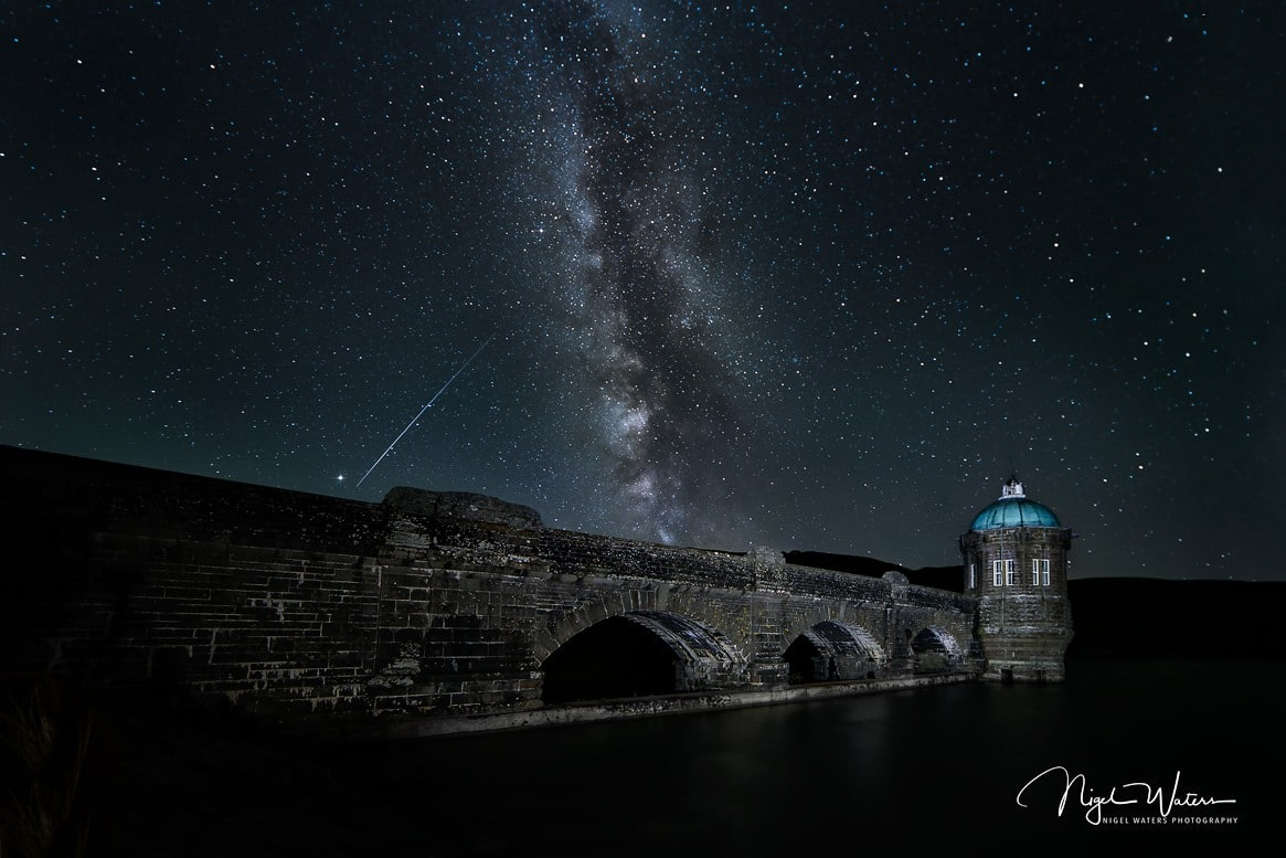 A Meteor and the Milky Way Craig Goch Dam at Elan Valley Wales