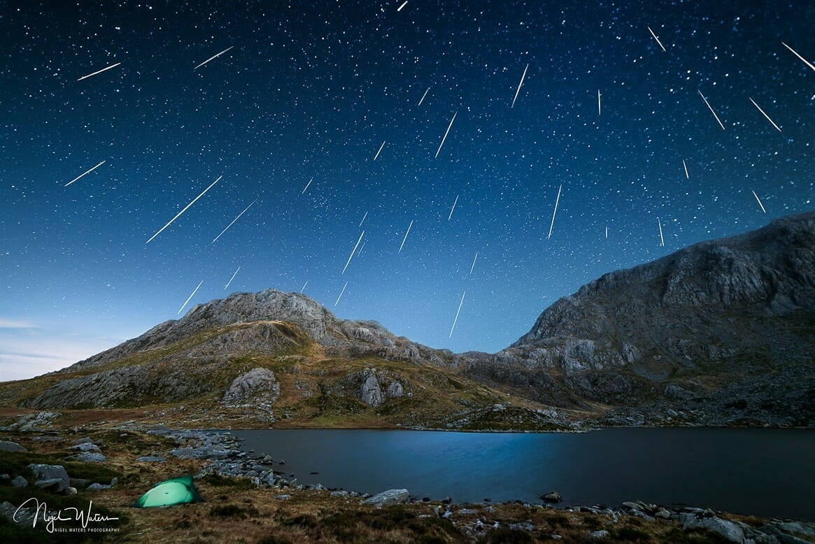Geminid meteor shower over Tryfan