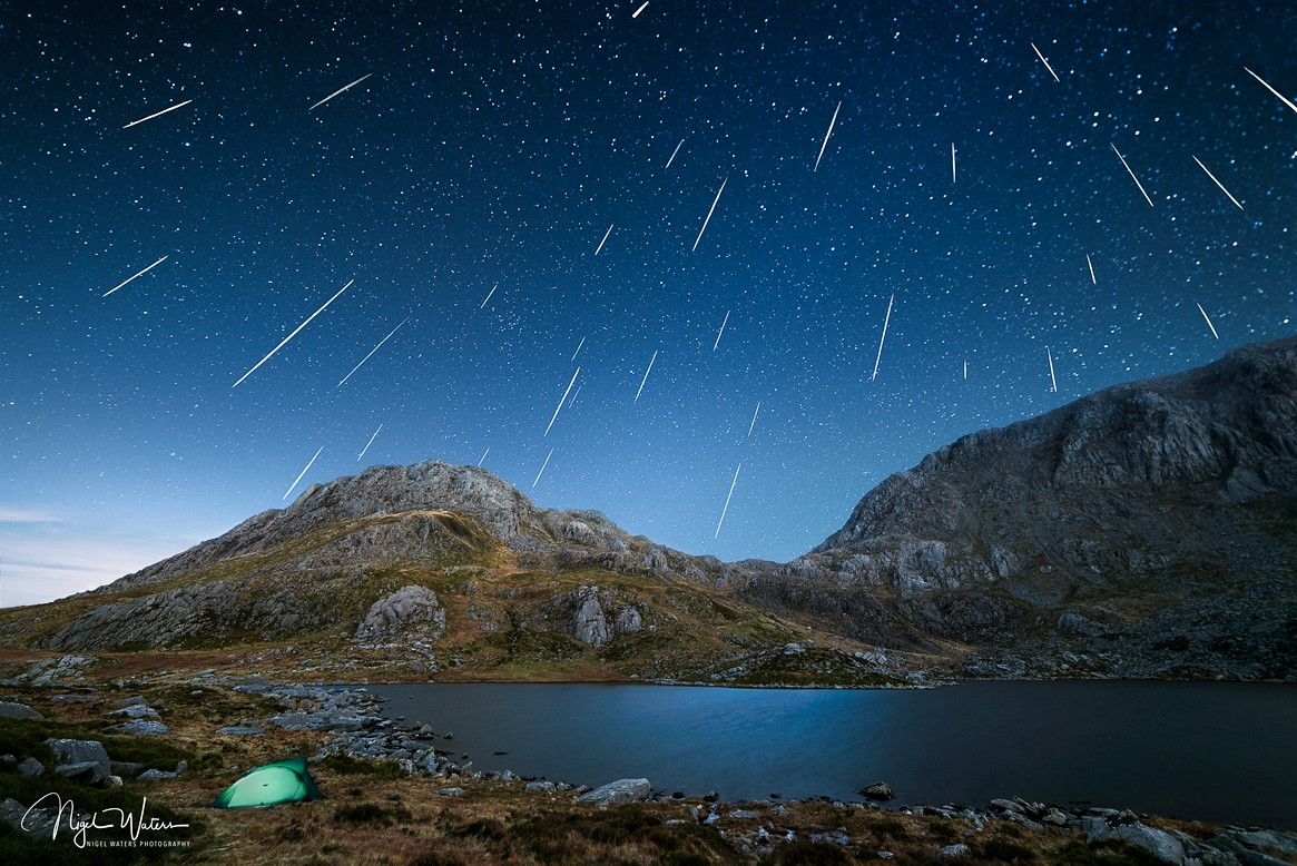 Geminid meteor shower over Tryfan Snowdonia Wales