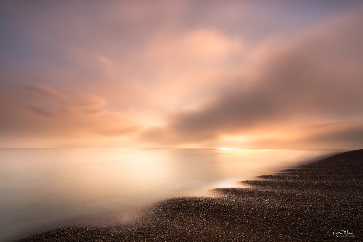 Golden hour sunrise over Deal beach in Kent