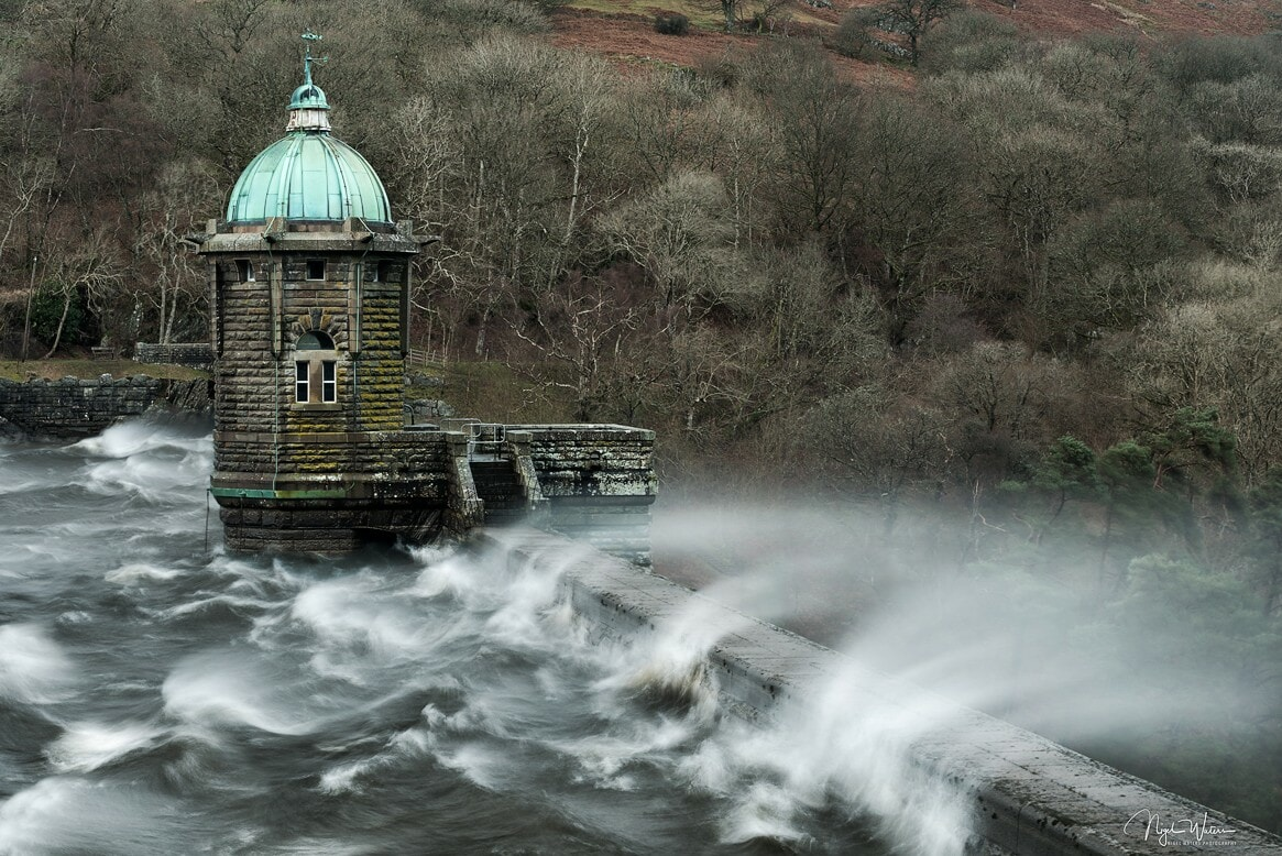 White horses at Pen y Garreg Dam Elan Valley during a storm