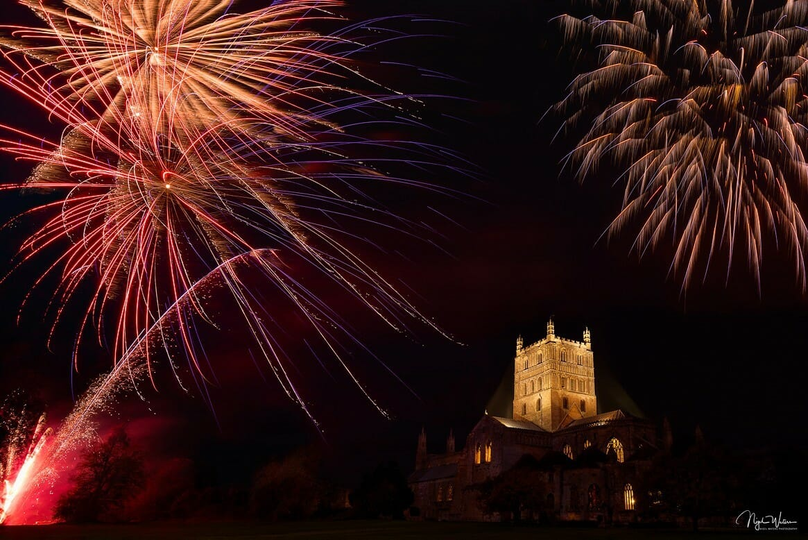 Firework display over the wonderful Tewkesbury Abbey