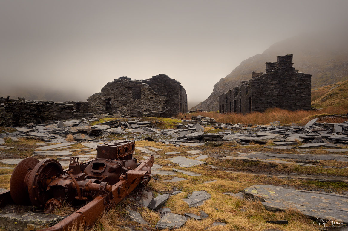 A misty photography of Rhosydd Barracks, Snowdonia North Wales Mines