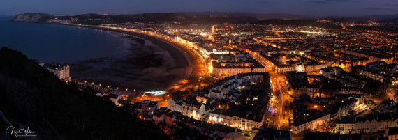 Llandudno Nightscape Photograph taken from Pen y Dinas Hillfort coped to a 17:6 Ratio