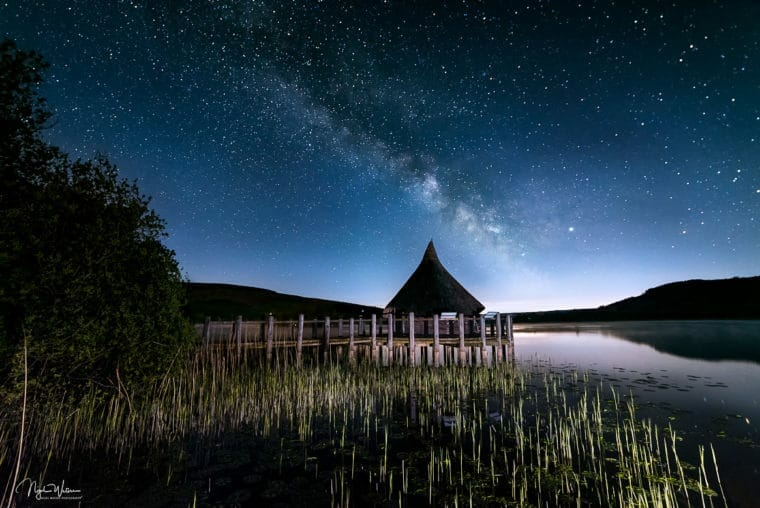 Serenity of night nightscape photograph milky way over Llangorse Lake Wales