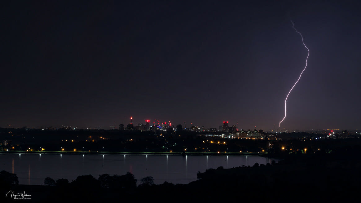 Lightning Bolt over Birmingham City Skyline