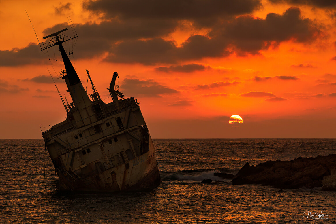 Edro III Shipwreck with a fiery Sunset