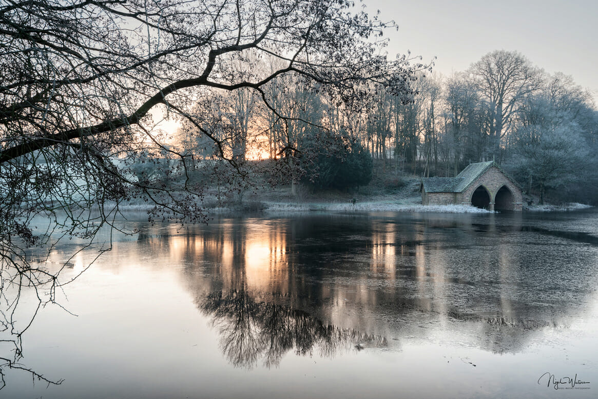 Dudmaston Hall Boathouse winter sunrise
