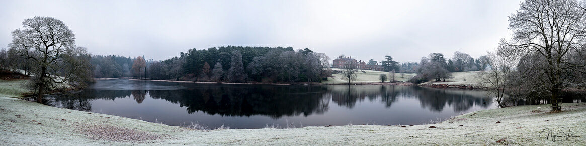 Dudmaston Hall Panorama on a frost winters morning
