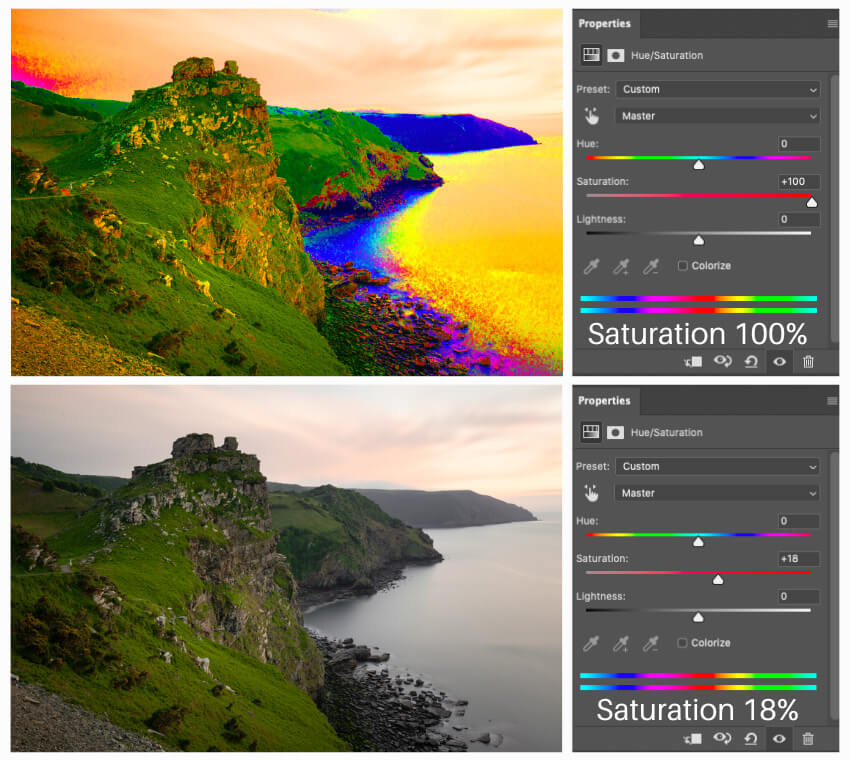 Vibrance vs Saturation - Hue Saturation Adjustment Layer