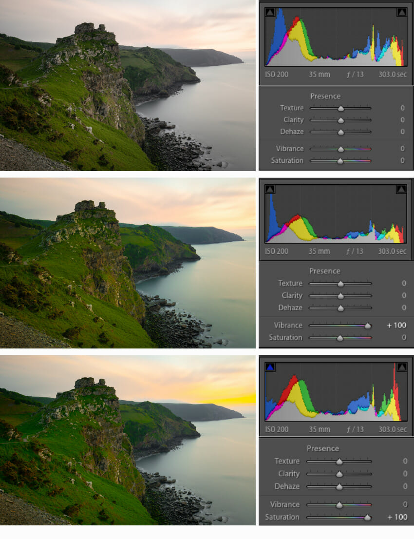 Vibrance vs Saturation in Lightroom