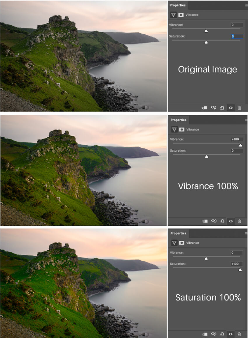 Difference between Vibrance vs Saturation